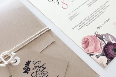 Invitaciones en Rosas Vintage